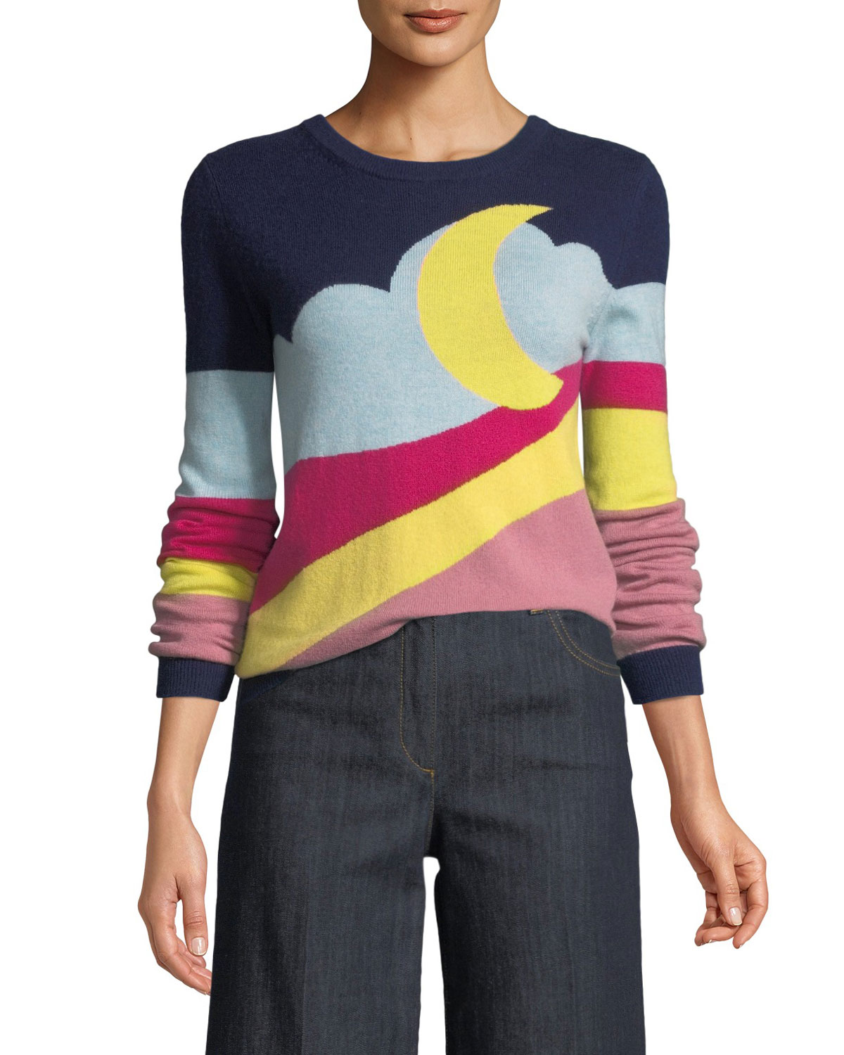 BOUTIQUE MOSCHINO Moon-Print Pullover Sweater, Fantasy Print Blu