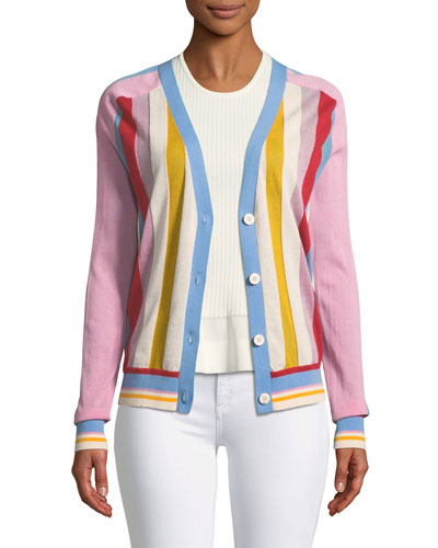 Long-Sleeve Colorblock Cardigan