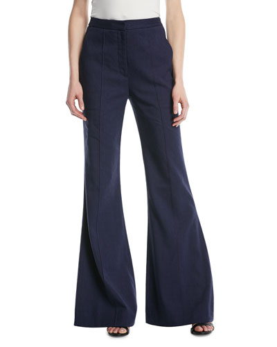 High-Rise Pleated-Front Flared Pants