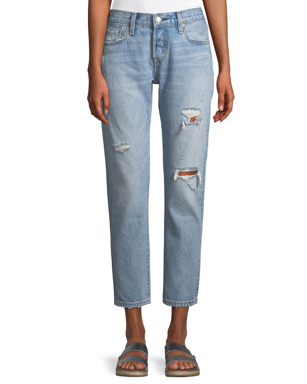 501 Taper Light-Wash Distressed Straight-Leg Jeans