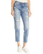 Partner In Crime Wedgie-Icon Fit High-Waist Distressed Tapered-Leg Jeans
