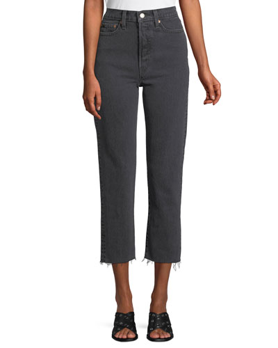 Wedgie That Girl High-Waist Straight-Leg Jeans w/ Raw Hem