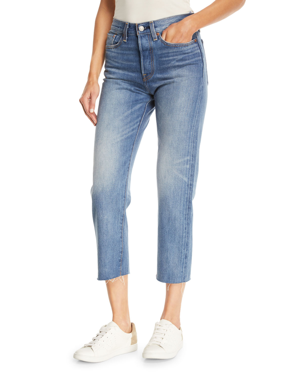 Partners in Crime Wedgie-Icon Fit Straight-Leg Jeans w/ Raw-Edge Hem