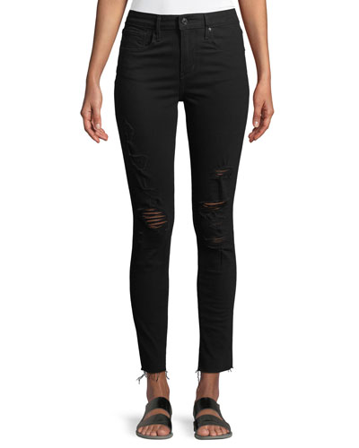 721 Atomic High-Rise Skinny-Leg Jeans w/ Raw-Edge Hem