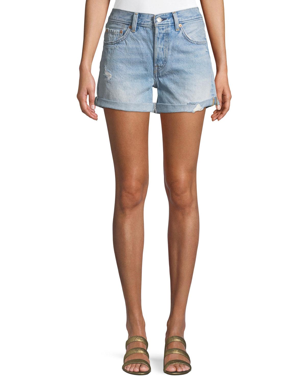 501 North Beach Blues Mid-Rise Denim Shorts