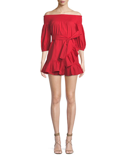 Maida Off-the-Shoulder Flounce Mini Dress