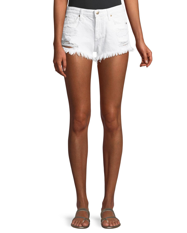Mid-Rise Distressed Denim Cutoff Shorts