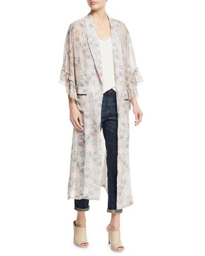 Amina Open-Front Floral-Print Kimono Jacket