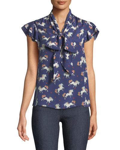 Laney Printed Flutter-Sleeve Silk Blouse