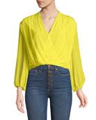 Trista Cross-Front Long-Sleeve Blouson Top