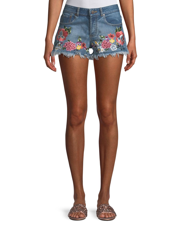 Floral-Embroidered Vintage-Inspired Denim Shorts
