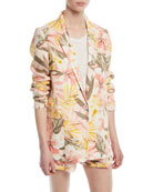 Kishina Printed One-Button Linen Blazer