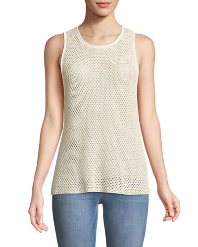 New Harbor Sleeveless Crewneck Mesh Sweater