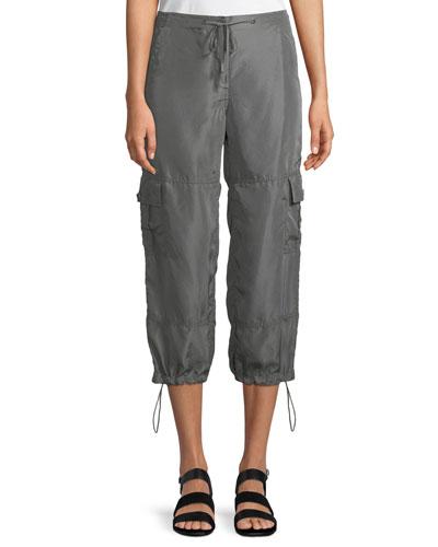 Cropped Silk Drawstring Cargo Pants
