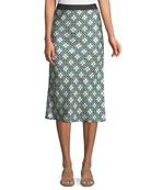 Printed Silk Knee-Length Slip Skirt