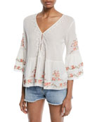 Kamile 3/4-Sleeve Embroidered Blouse