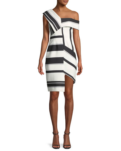 Asymmetric Stripe Sheath Cocktail Dress