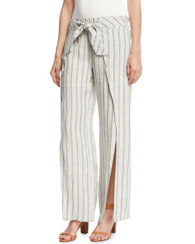 Sahira Striped Linen Wide-Leg Pants