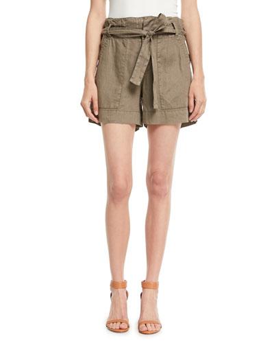 Daynna Belted Linen Cargo Shorts