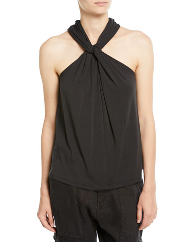 Quintella Twisted-Collar Sleeveless Top