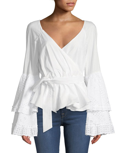 Melly Embroidered Cotton Bell-Sleeve Blouse