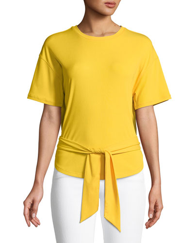 Lily Knit Tie-Front Crewneck Tee