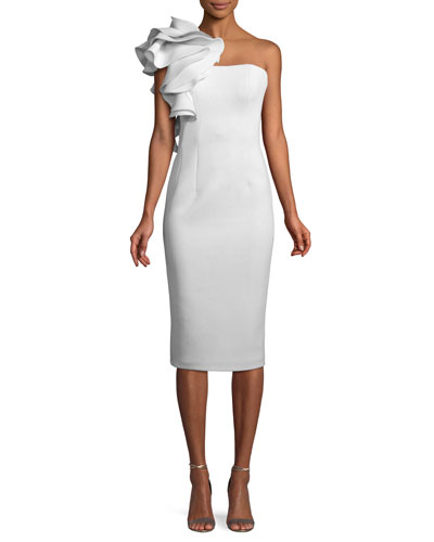 bff63e488b5 Quick Look. Jovani · Marshmallow Ruffle-Shoulder Sheath Cocktail Dress.  Available in White