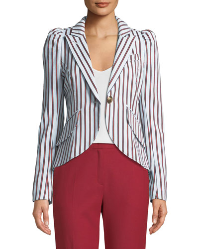 Striped Pouf-Sleeve One-Button Blazer