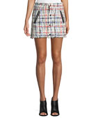 Otis Snap-Front Tweed Mini Skirt