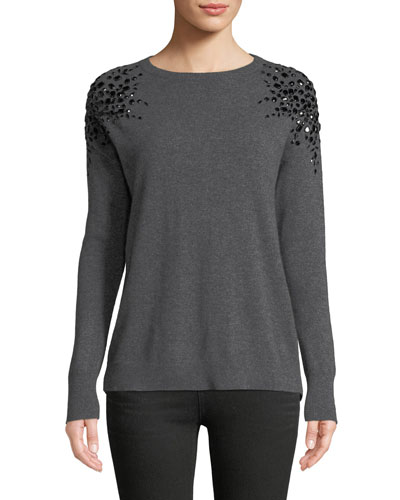 Embellished Long-Sleeve Cashmere Sweater