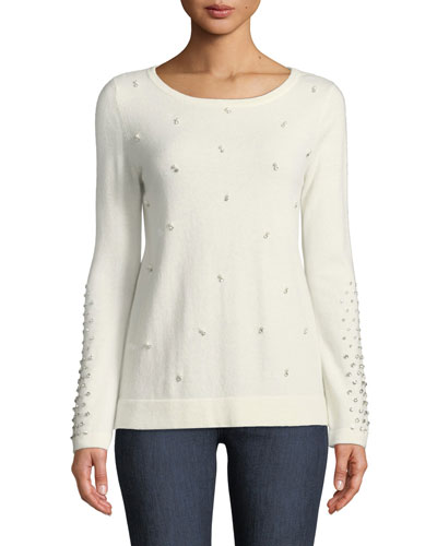 Pearl Embellished Cashmere Sweater