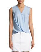 Victor Sleeveless Wrap-Front Blouse