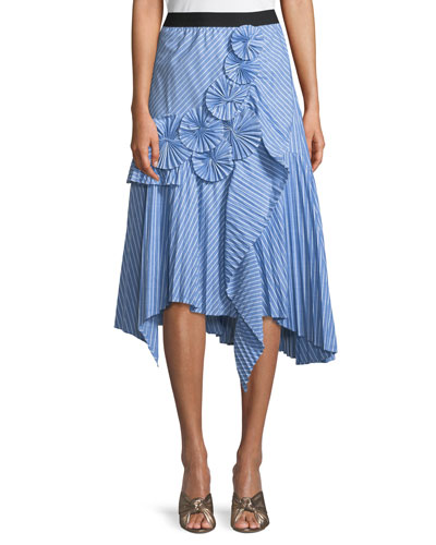 Edericka Striped Pleated Applique Midi Skirt
