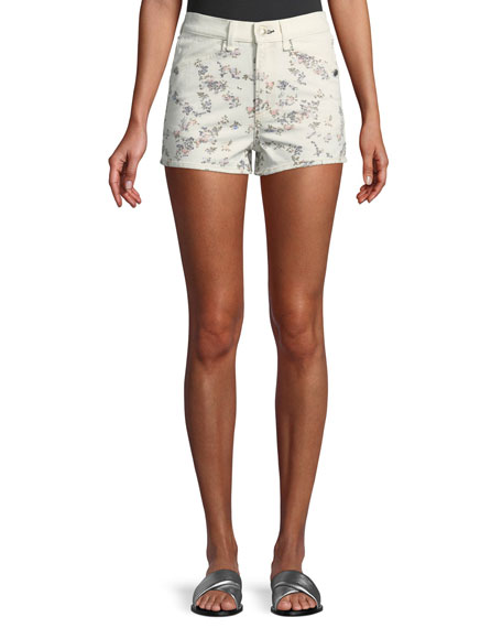 Rag & Bone Ellie Floral-Print High-Rise Twill Shorts w/ Western Back Yoke
