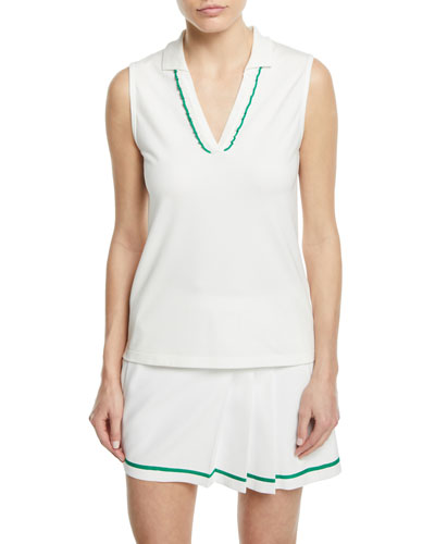 Pique Sleeveless Ruffle Polo Top