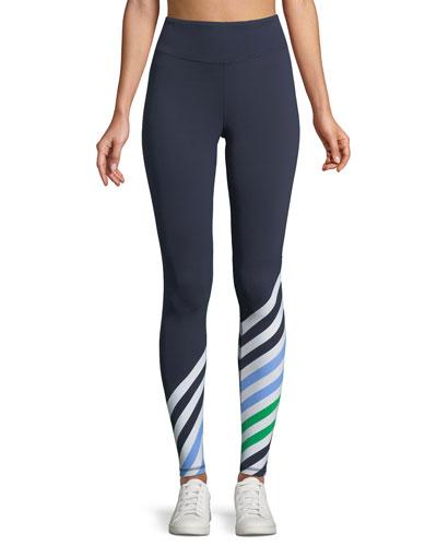 Striped Full-Length Performance Leggings