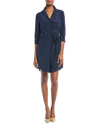 Stella Long-Sleeve Star-Print Silk Shirtdress