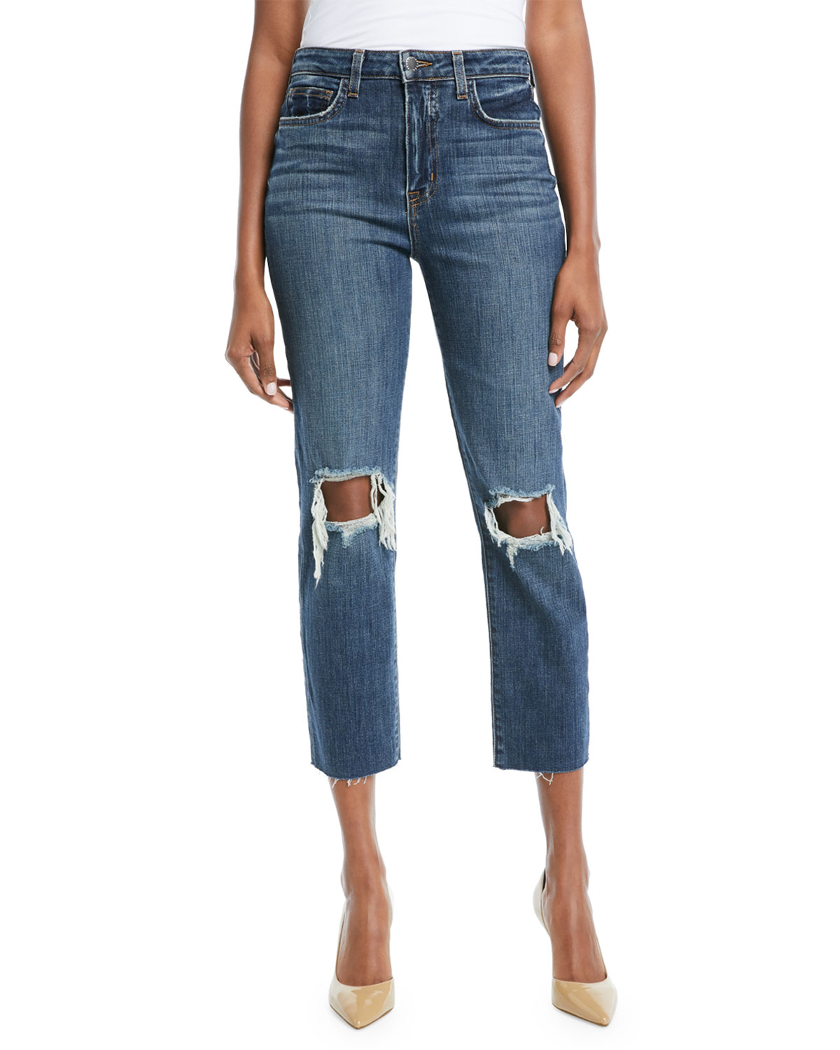 Audrina Worn Destructed-Knee Crop Straight-Leg Jeans