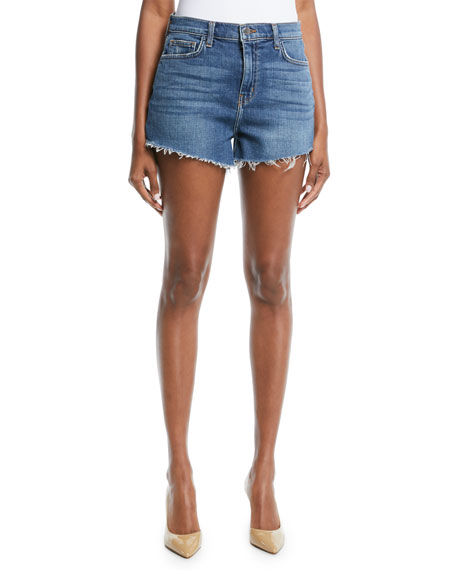 L'Agence Ryland Denim Cutoff Shorts w/ Fray Hem