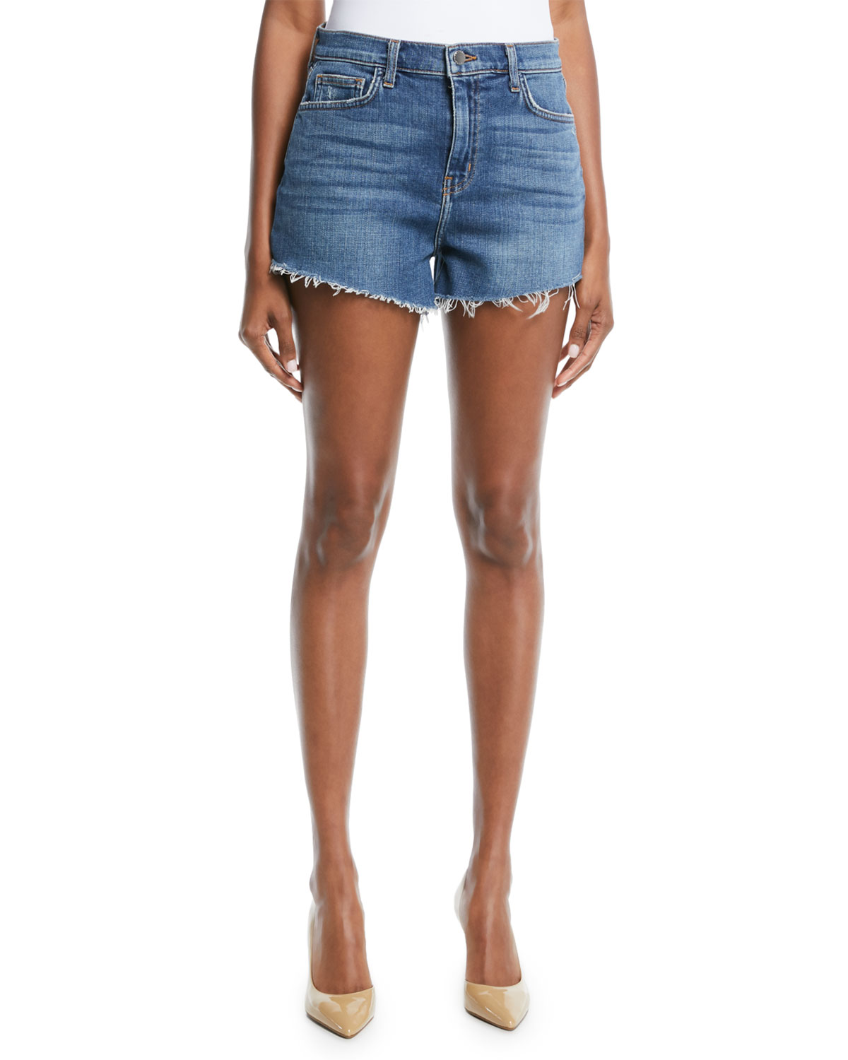 Ryland Denim Cutoff Shorts w/ Fray Hem