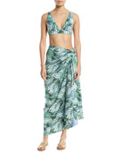 Palm Party Printed Wrap Sarong Coverup