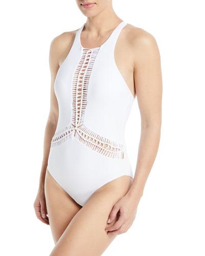 Splice & Dice High-Neck Macrame Maillot One-Piece Swimsuit