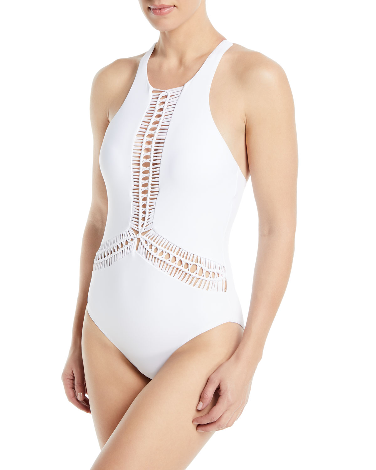 Splice & Dice High-Neck Macrame Maillot One-Piece Swimsuit