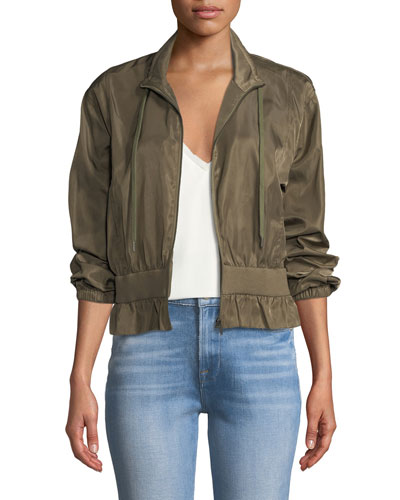 Cropped Zip-Front Cinched Jacket