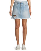 FRAME Rigid Re-Release Le High Frayed Mini Skirt
