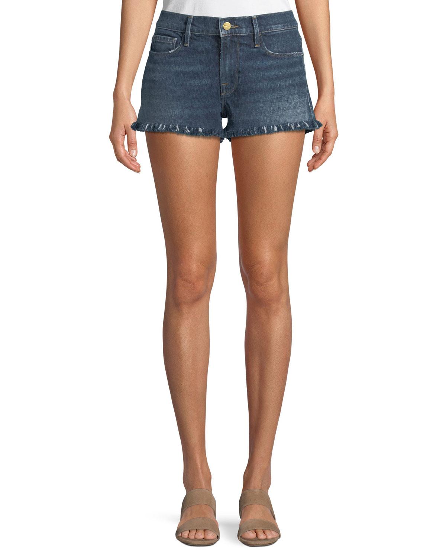 Le Cutoff Shredded Raw-Hem Denim Shorts