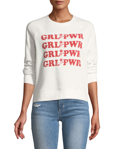 GRL PWR Long-Sleeve Graphic-Print Crewneck Sweatshirt