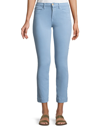 Le High Straight-Leg Ankle Jeans with Blind Stitch