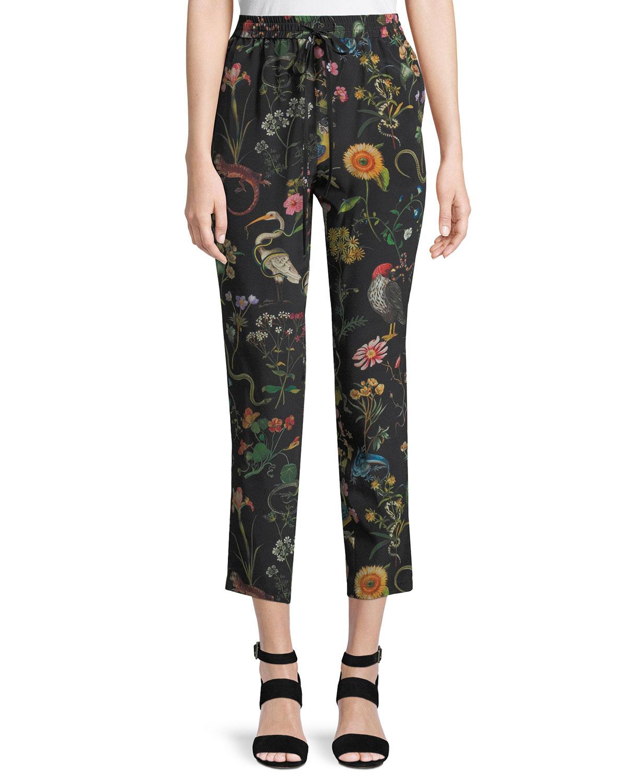 Flora and Fauna Floral-Print Silk Track Pants