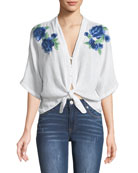 Thea Embroidered Tie-Hem Top